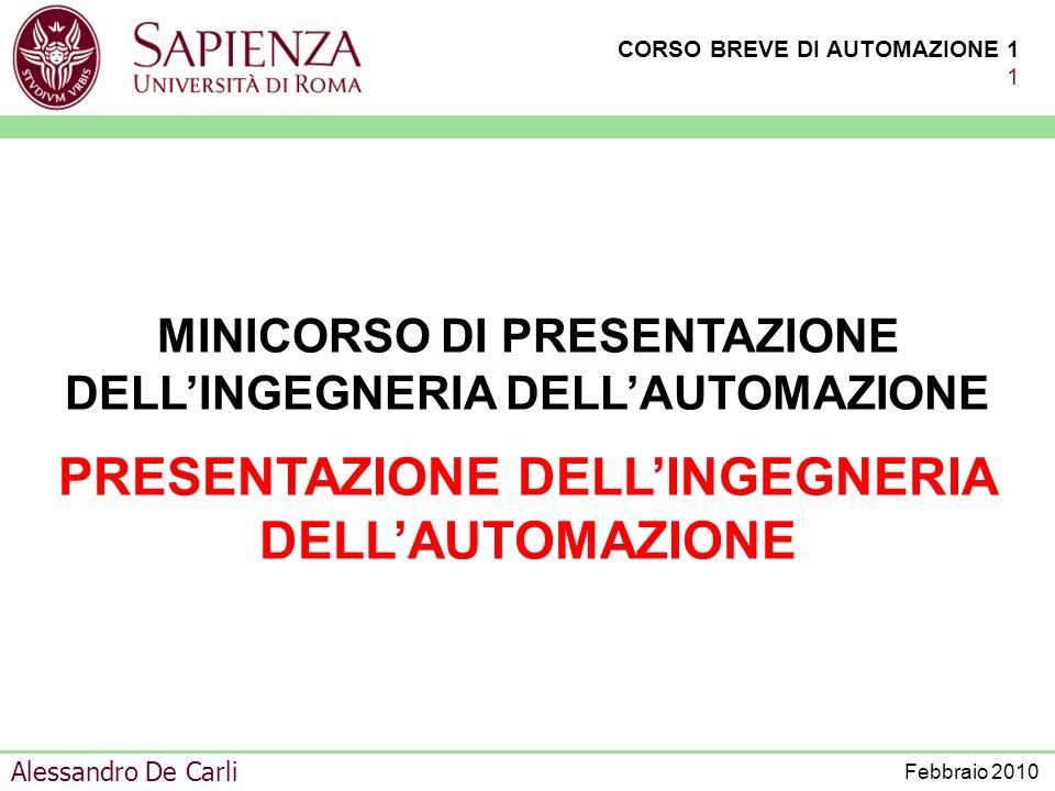 PRESENTAZIONE DELL'INGEGNERIA DELL'AUTOMAZIONE