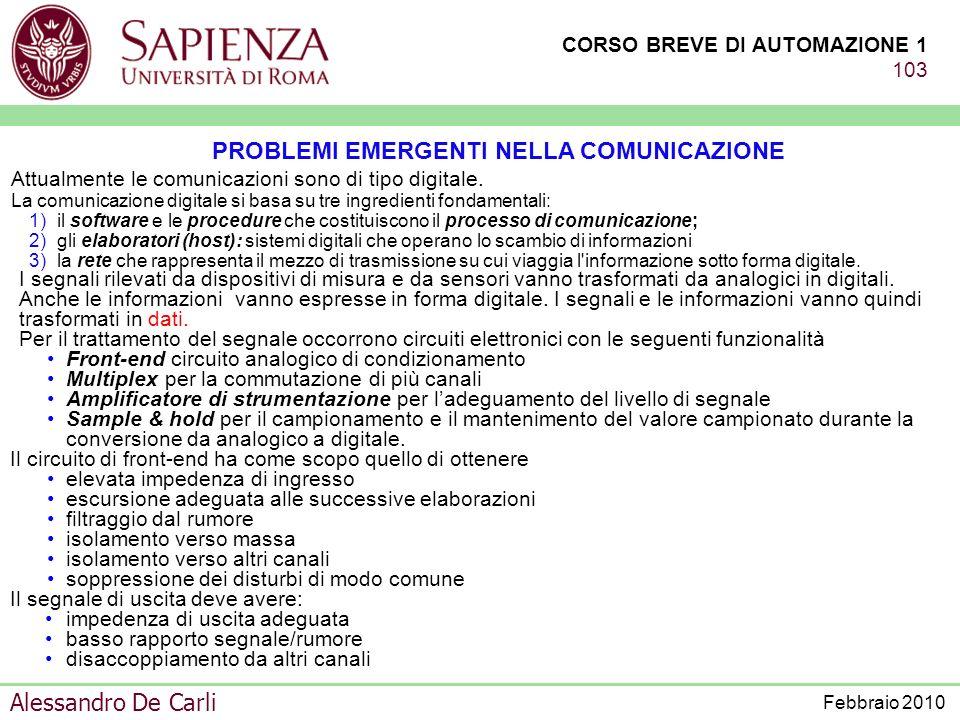 PROBLEMI EMERGENTI NELLA COMUNICAZIONE