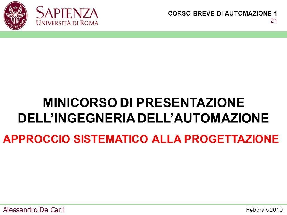 MINICORSO DI PRESENTAZIONE DELL'INGEGNERIA DELL'AUTOMAZIONE