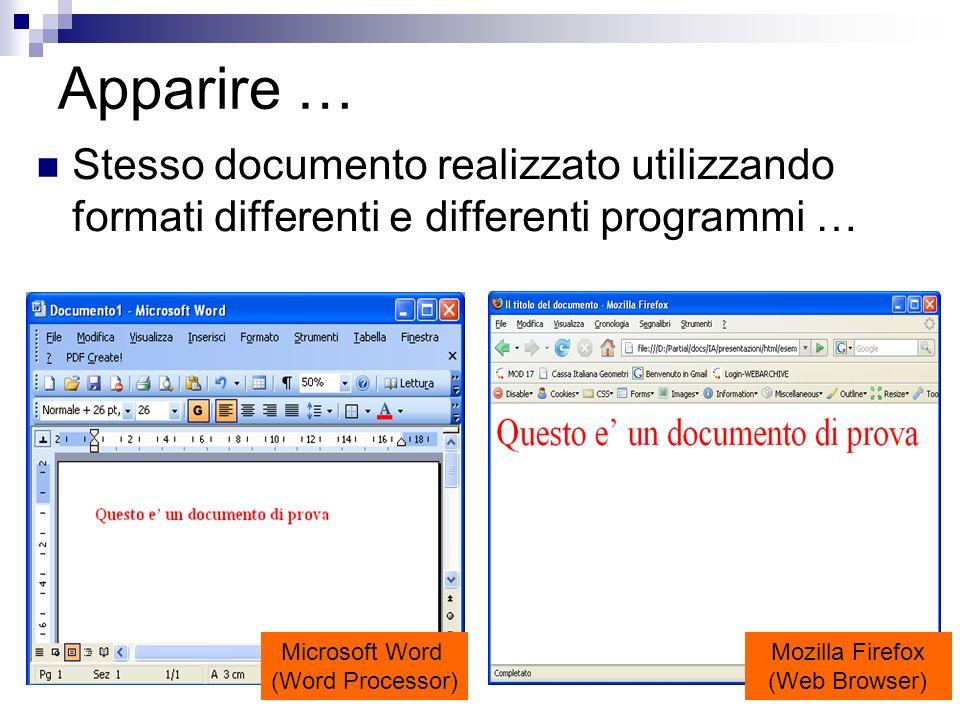 Apparire …Stesso documento realizzato utilizzando formati differenti e differenti programmi … Microsoft Word.