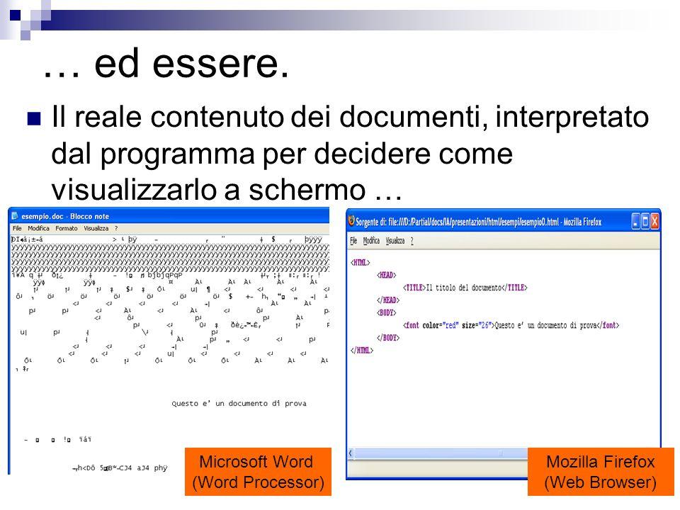 … ed essere.Il reale contenuto dei documenti, interpretato dal programma per decidere come visualizzarlo a schermo …