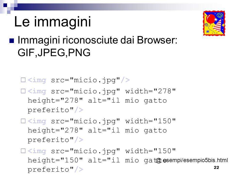 Le immagini Immagini riconosciute dai Browser: GIF,JPEG,PNG