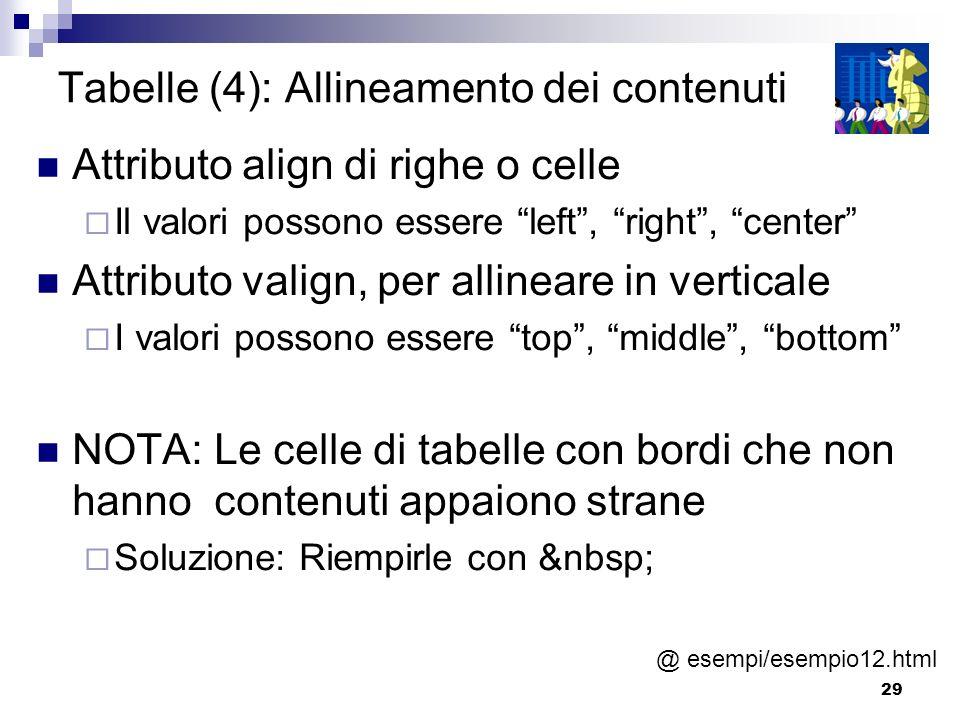 Tabelle (4): Allineamento dei contenuti