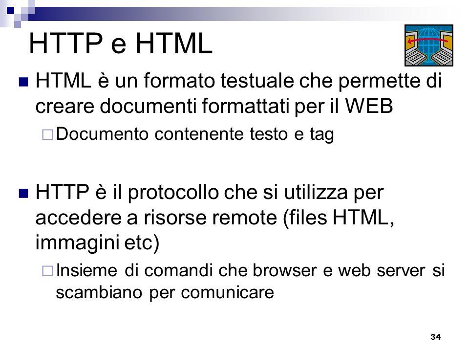 HTTP e HTML HTML è un formato testuale che permette di creare documenti formattati per il WEB. Documento contenente testo e tag.
