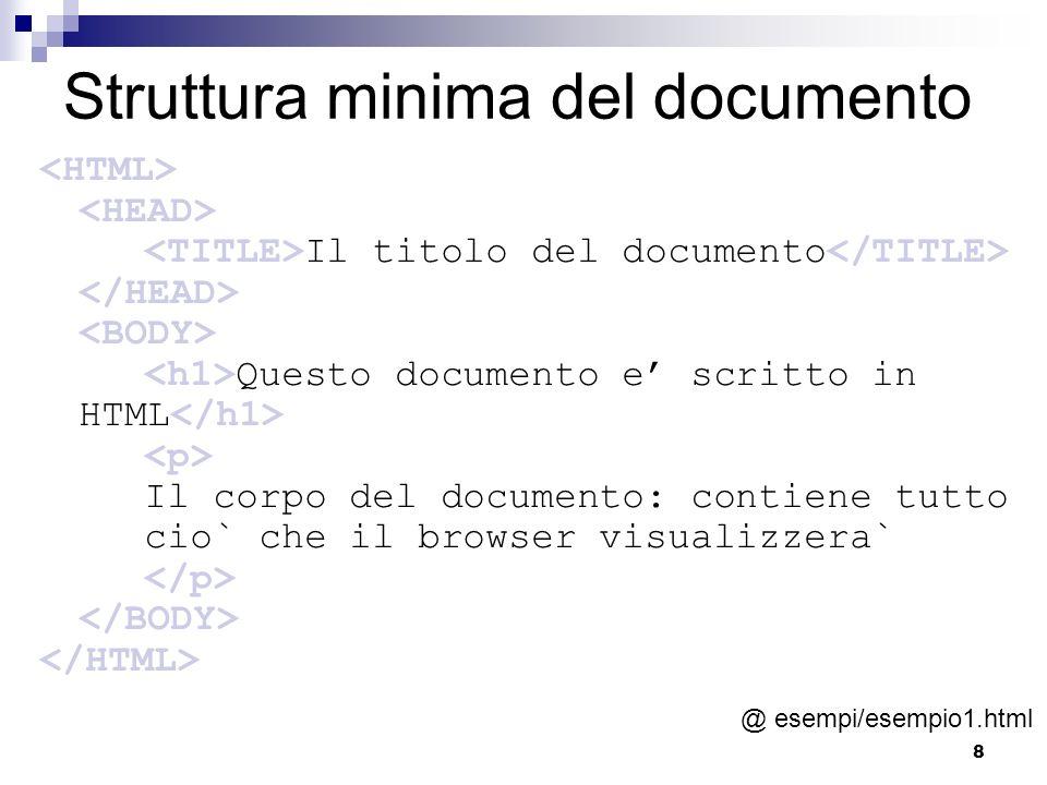 Struttura minima del documento