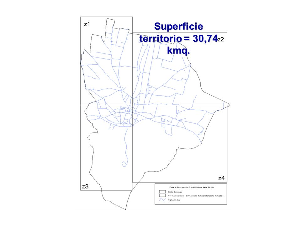 Superficie territorio = 30,74 kmq.