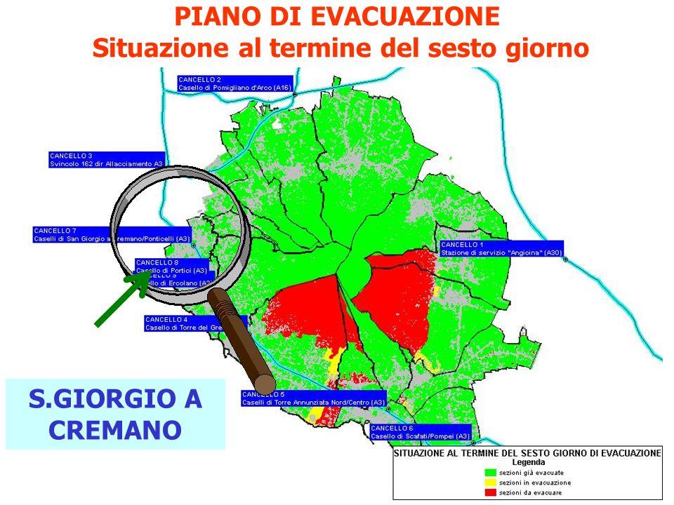 PIANO DI EVACUAZIONE Situazione al termine del sesto giorno
