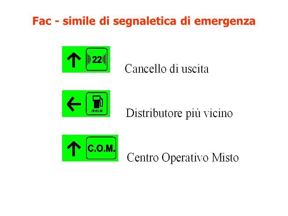 Fac - simile di segnaletica di emergenza
