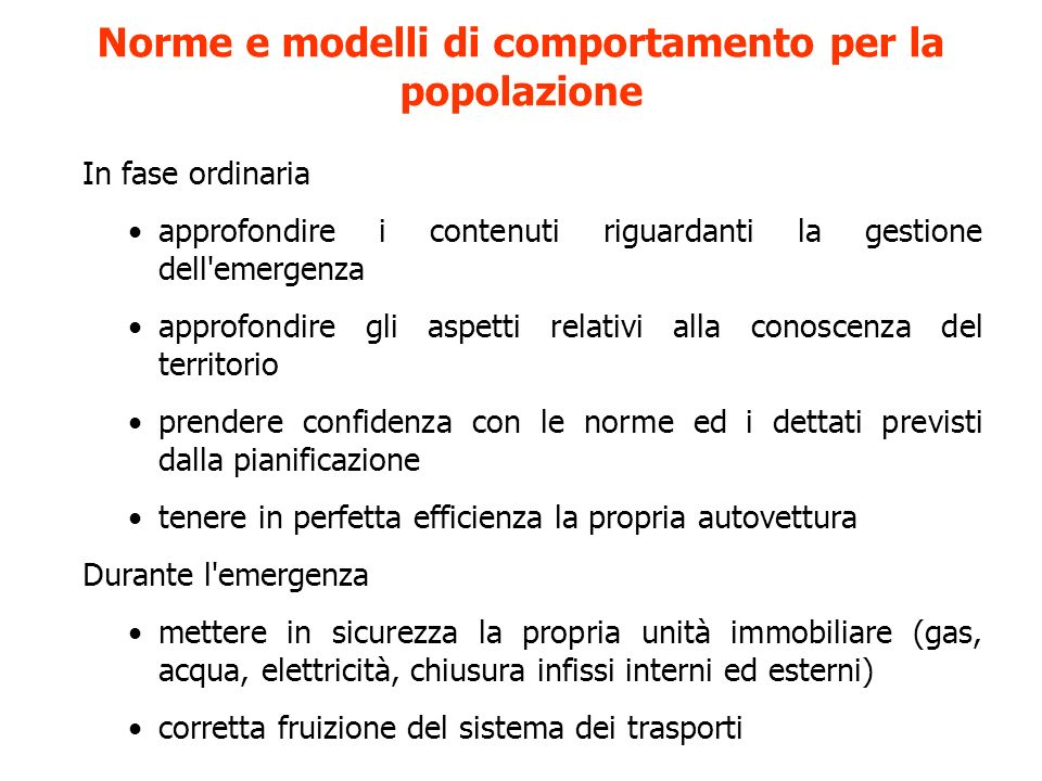 Norme e modelli di comportamento per la popolazione