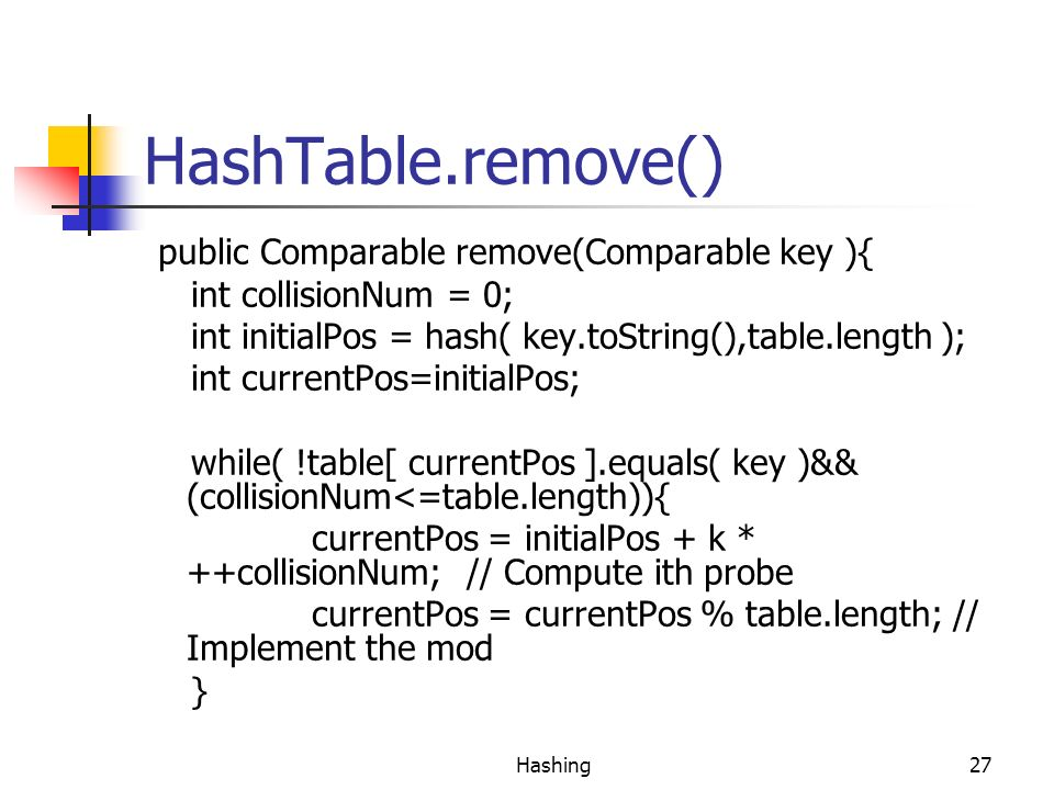 HashTable.remove() public Comparable remove(Comparable key ){