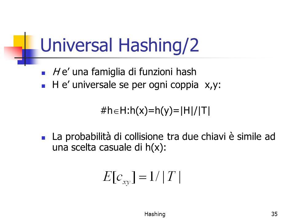 Universal Hashing/2 H e' una famiglia di funzioni hash