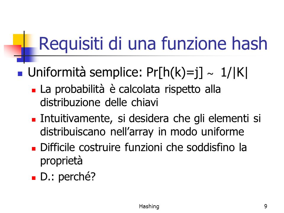Requisiti di una funzione hash