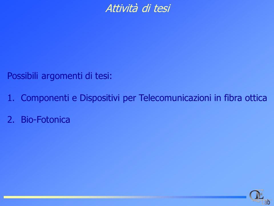 Attività di tesi Possibili argomenti di tesi: