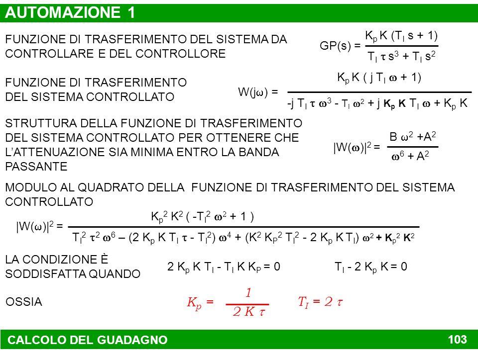 AUTOMAZIONE 1 1 2 K t Kp = TI = 2 t GP(s) = TI t s3 + TI s2