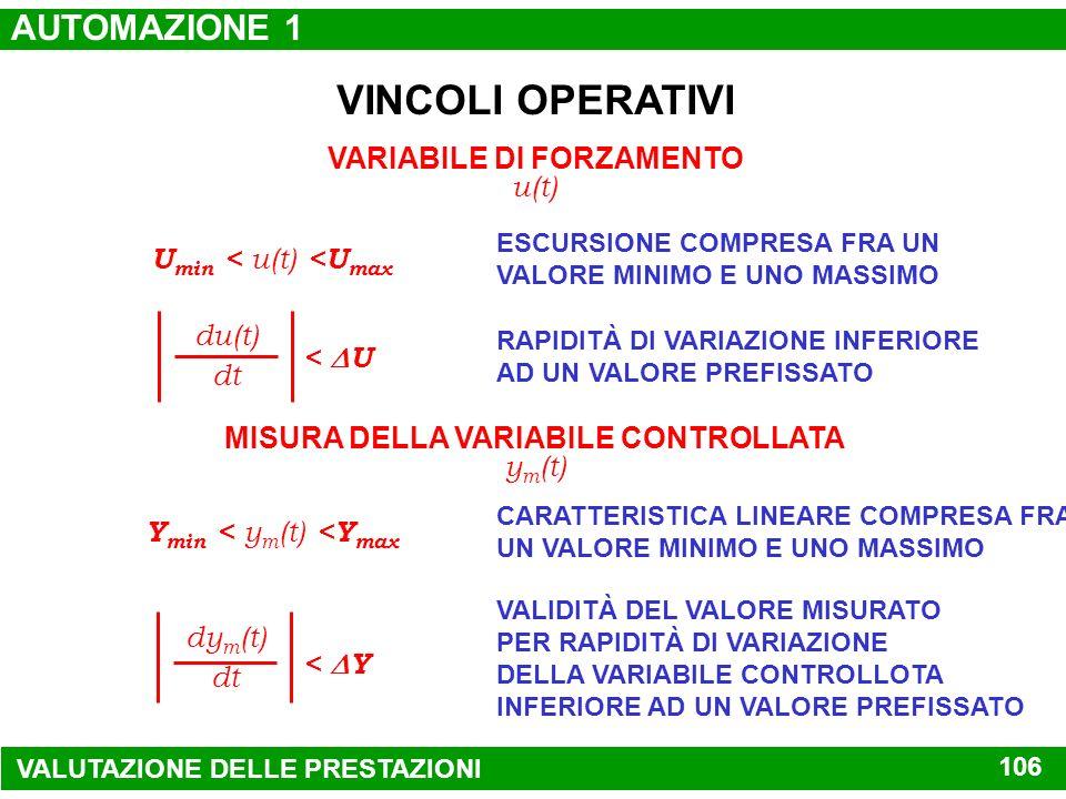 VARIABILE DI FORZAMENTO MISURA DELLA VARIABILE CONTROLLATA