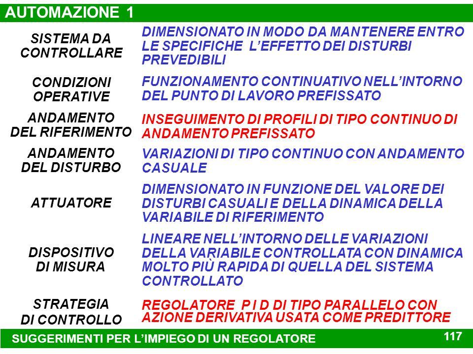 AUTOMAZIONE 1 DIMENSIONATO IN MODO DA MANTENERE ENTRO LE SPECIFICHE L'EFFETTO DEI DISTURBI PREVEDIBILI.
