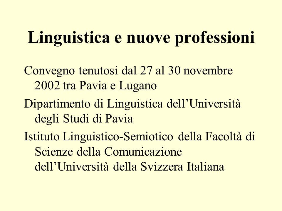 Linguistica e nuove professioni