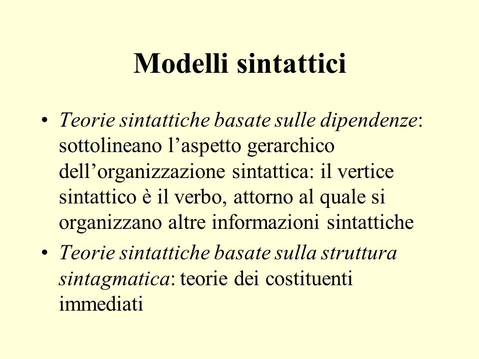 Modelli sintattici