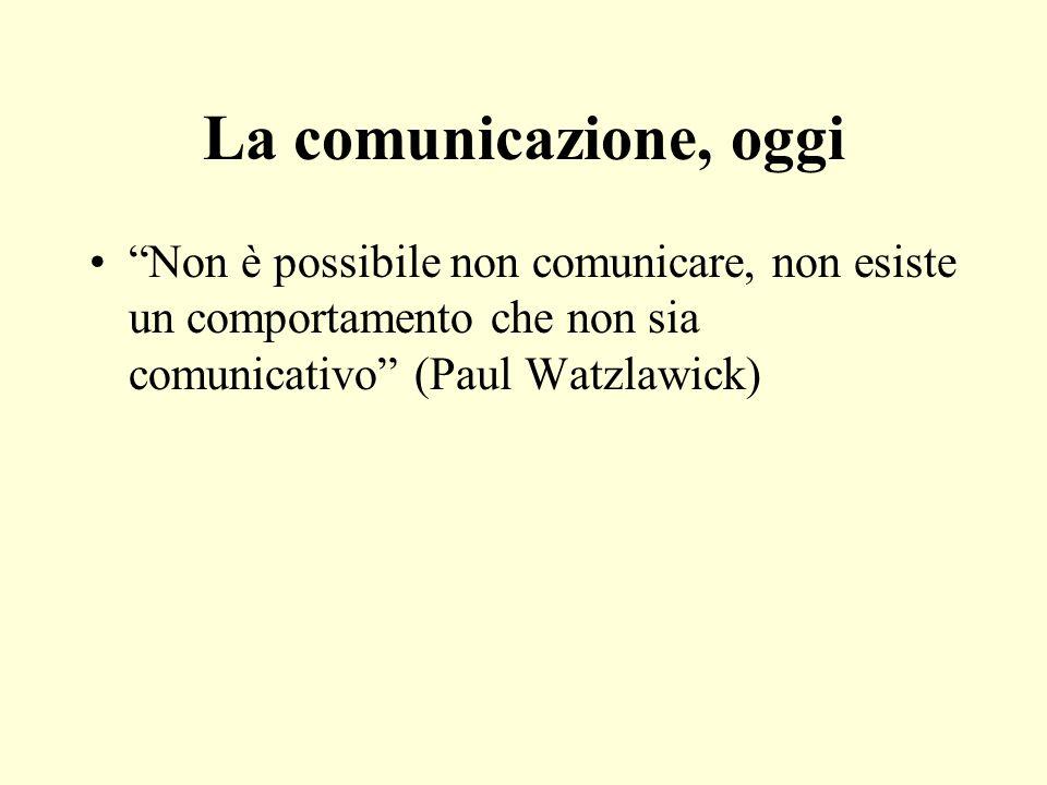 La comunicazione, oggi Non è possibile non comunicare, non esiste un comportamento che non sia comunicativo (Paul Watzlawick)