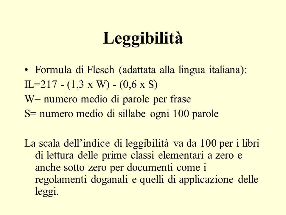 Leggibilità Formula di Flesch (adattata alla lingua italiana):