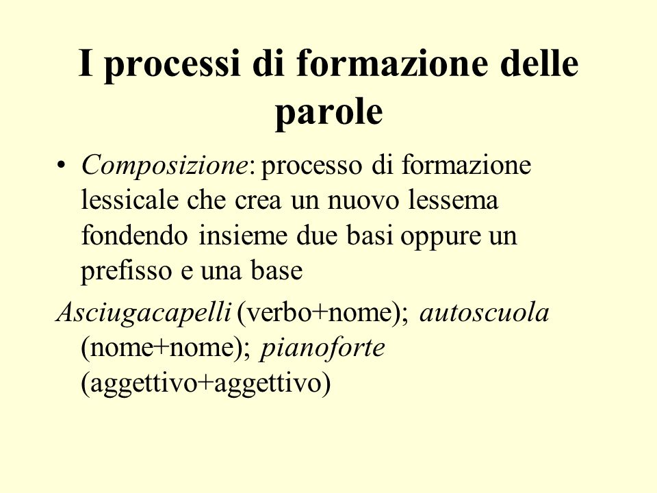 I processi di formazione delle parole