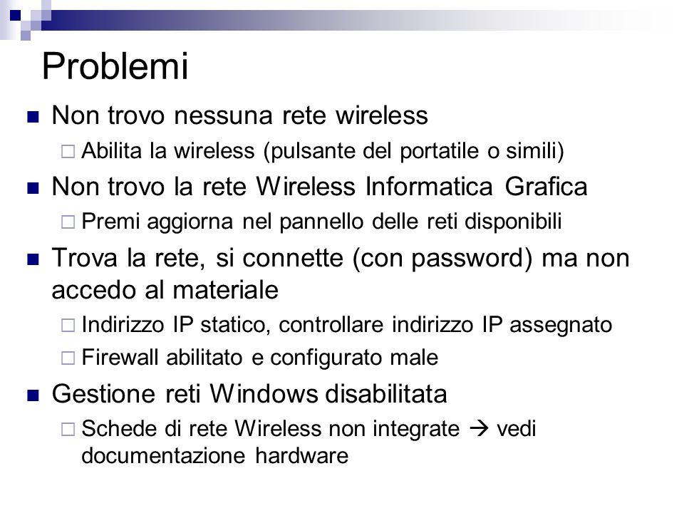 Problemi Non trovo nessuna rete wireless