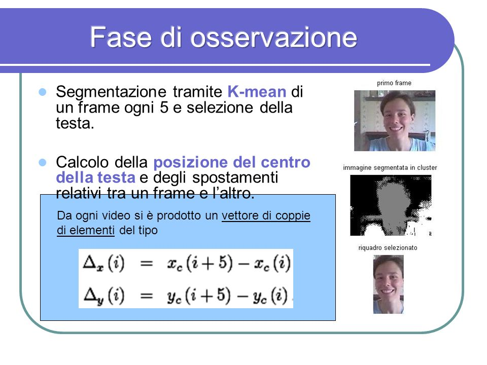 Fase di osservazione Segmentazione tramite K-mean di un frame ogni 5 e selezione della testa.