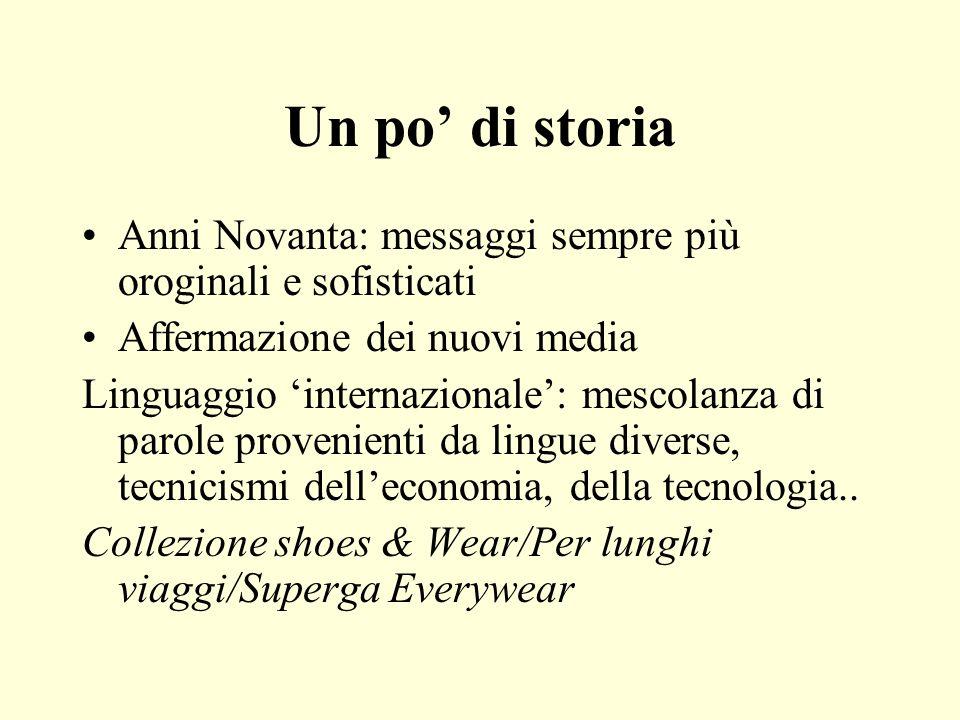 Un po' di storia Anni Novanta: messaggi sempre più oroginali e sofisticati. Affermazione dei nuovi media.