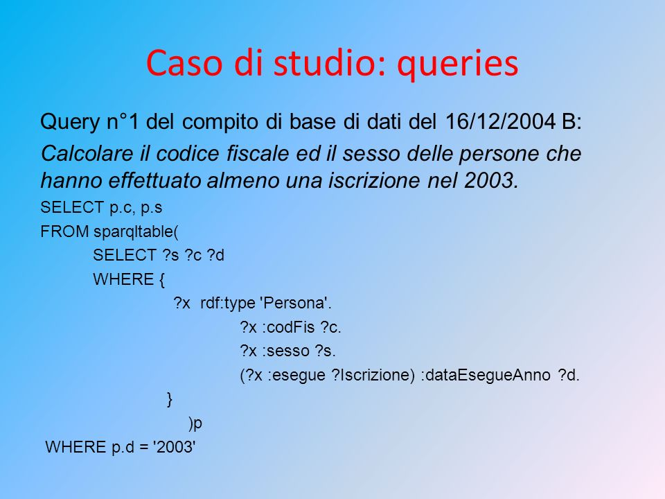 Caso di studio: queries