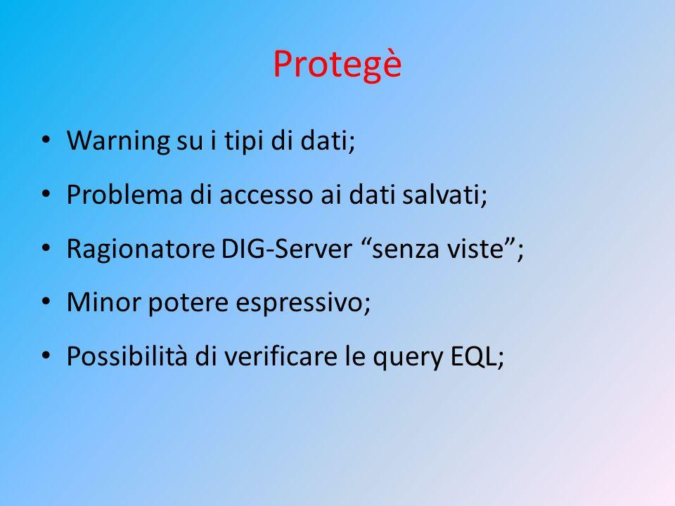 Protegè Warning su i tipi di dati;