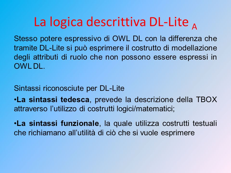 La logica descrittiva DL-Lite A