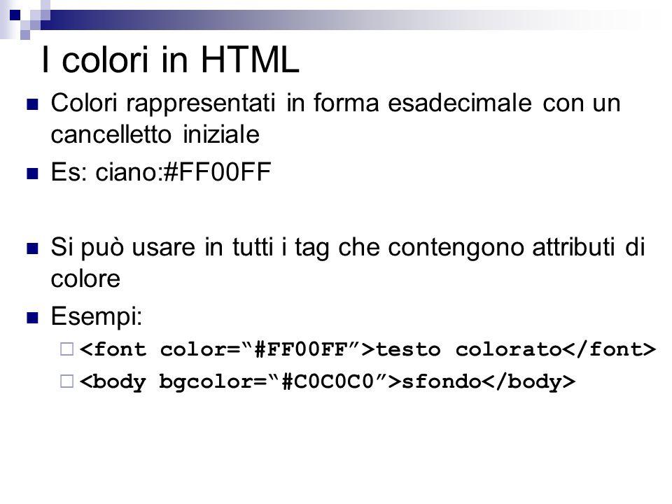 I colori in HTML Colori rappresentati in forma esadecimale con un cancelletto iniziale. Es: ciano:#FF00FF.