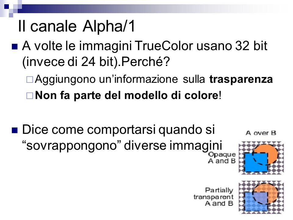 Il canale Alpha/1 A volte le immagini TrueColor usano 32 bit (invece di 24 bit).Perché Aggiungono un'informazione sulla trasparenza.