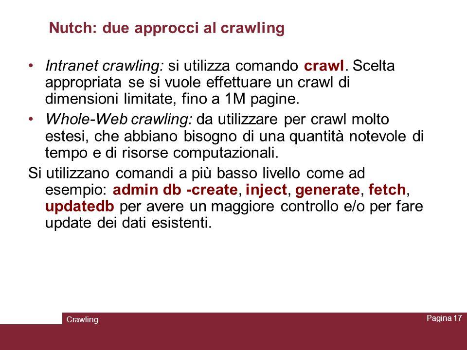 Nutch: due approcci al crawling