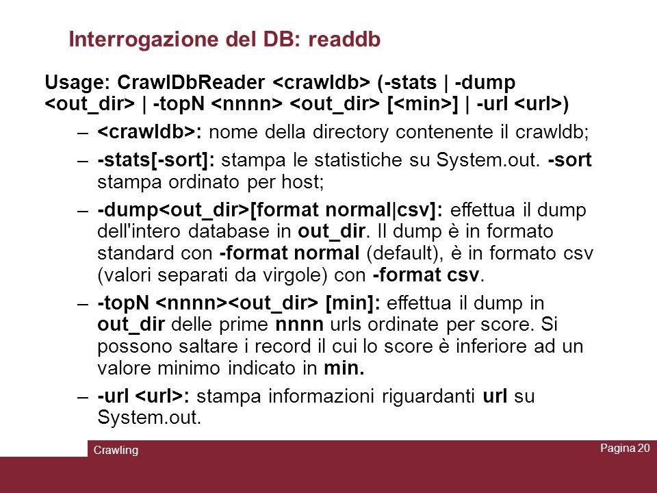 Interrogazione del DB: readdb