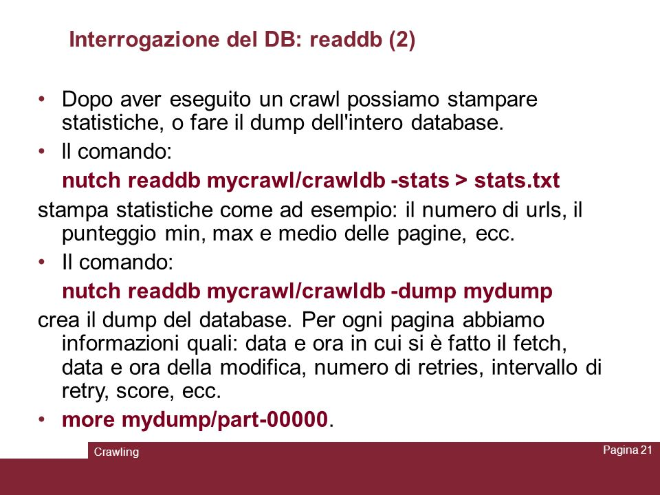 Interrogazione del DB: readdb (2)