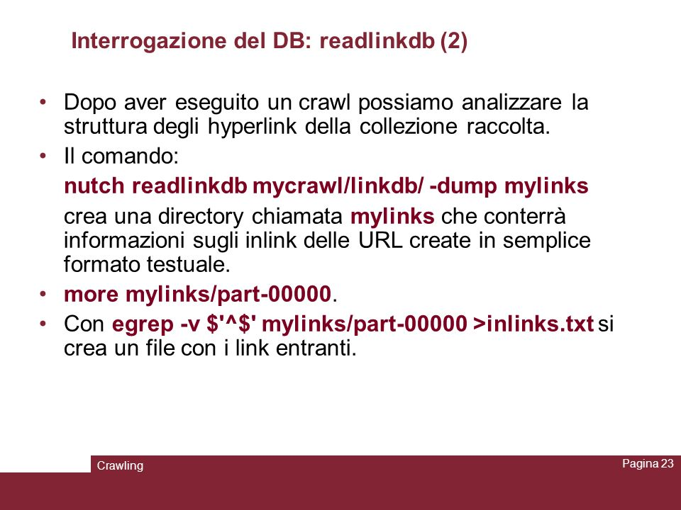 Interrogazione del DB: readlinkdb (2)