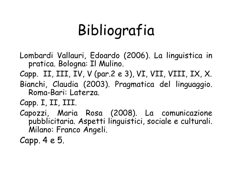 Bibliografia Lombardi Vallauri, Edoardo (2006). La linguistica in pratica. Bologna: Il Mulino.