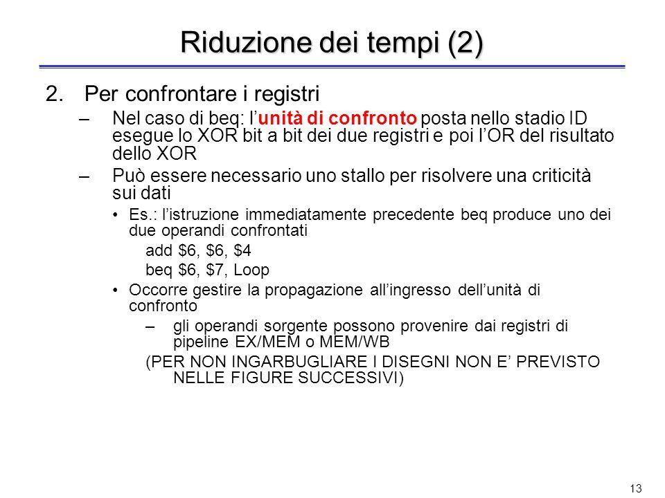 Riduzione dei tempi (2) Per confrontare i registri