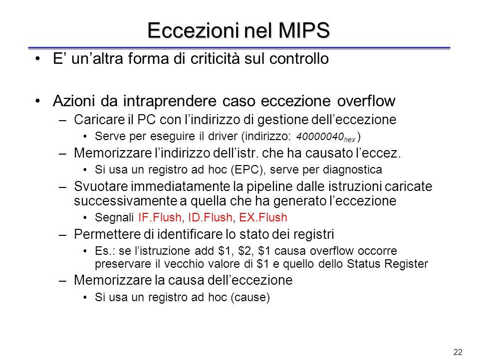Eccezioni nel MIPS E' un'altra forma di criticità sul controllo