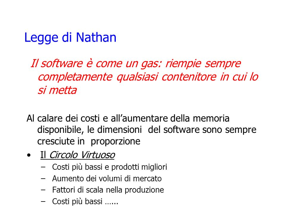 Legge di Nathan Il software è come un gas: riempie sempre completamente qualsiasi contenitore in cui lo si metta.