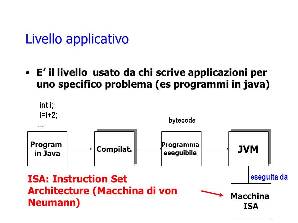 Livello applicativo E' il livello usato da chi scrive applicazioni per uno specifico problema (es programmi in java)