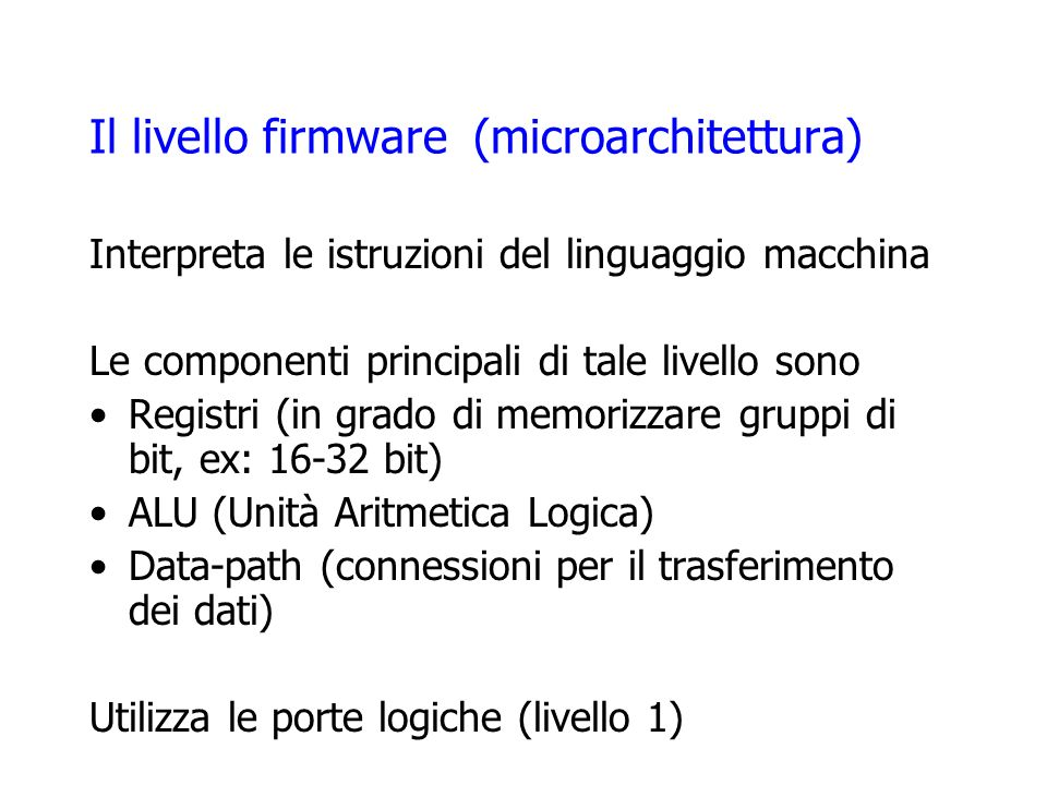 Il livello firmware (microarchitettura)