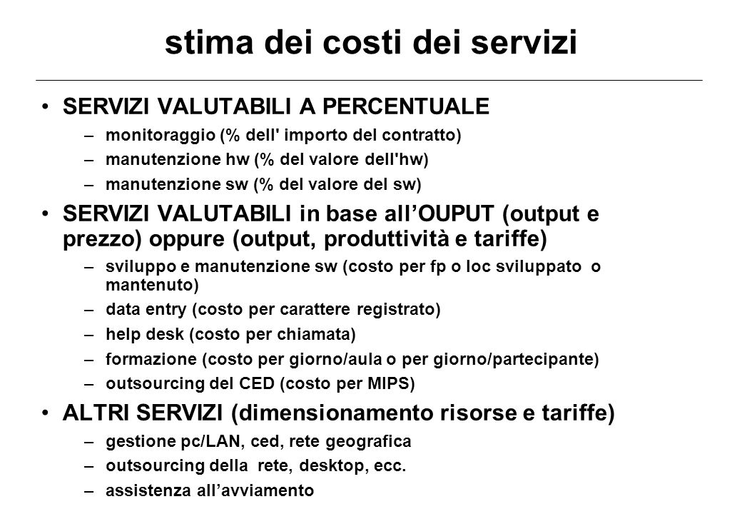 stima dei costi dei servizi