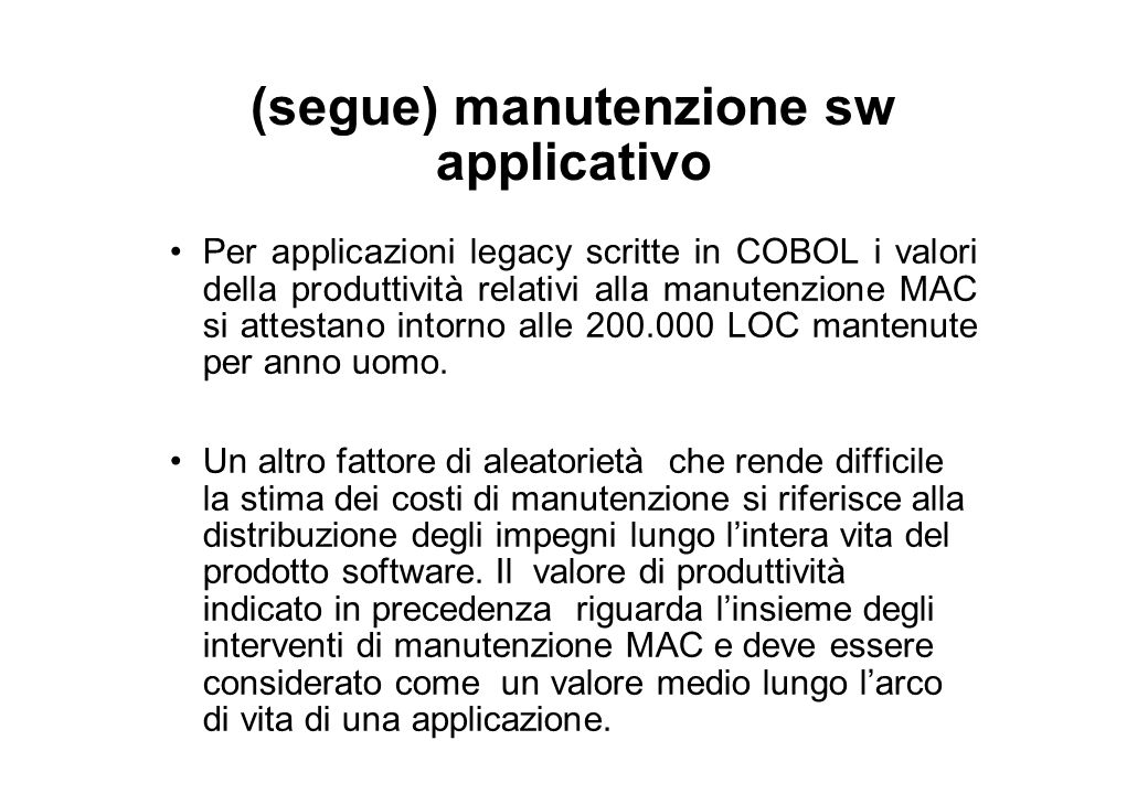(segue) manutenzione sw applicativo