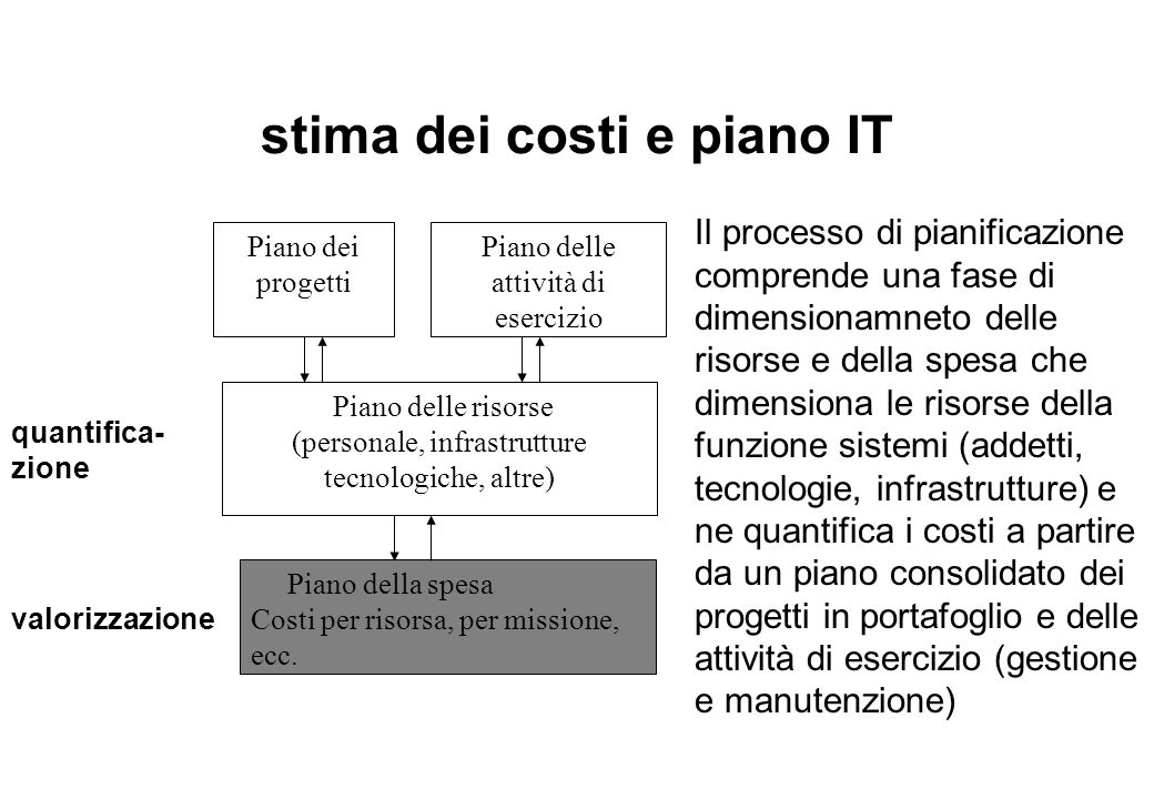 stima dei costi e piano IT