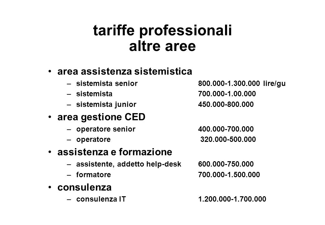 tariffe professionali altre aree