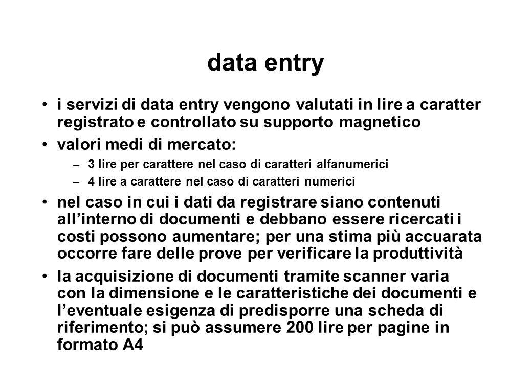 data entry i servizi di data entry vengono valutati in lire a caratter registrato e controllato su supporto magnetico.