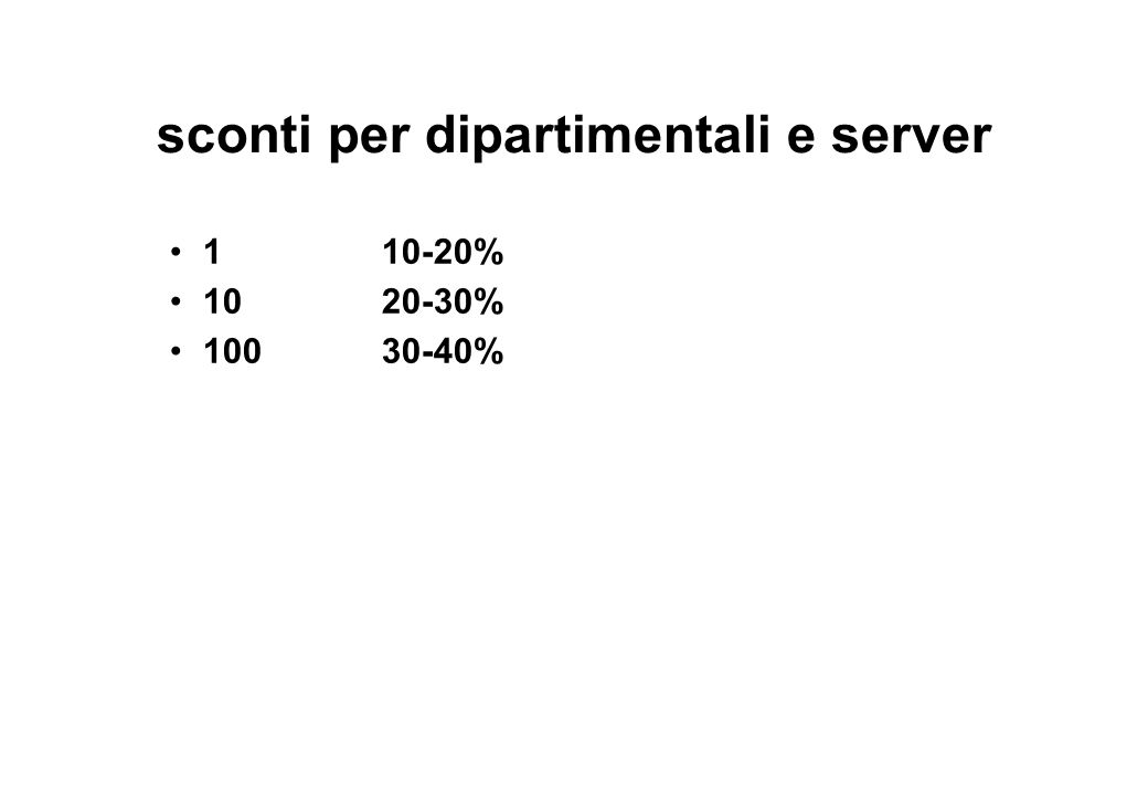 sconti per dipartimentali e server
