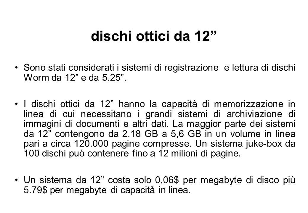 dischi ottici da 12 Sono stati considerati i sistemi di registrazione e lettura di dischi Worm da 12 e da 5.25 .